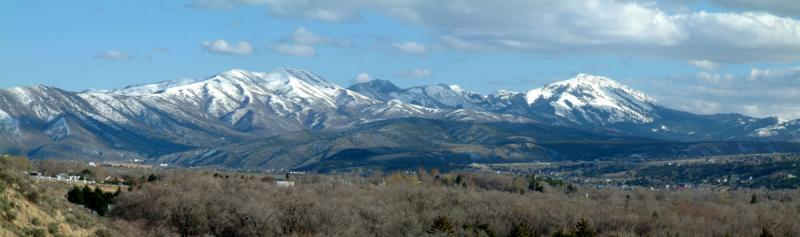 Indian and Scout Mountains (L, R), from Red Hill, ISU, Pocatello, Idaho