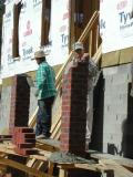 Building the front columns  12/27/2001