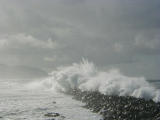 Waves over the breakwater