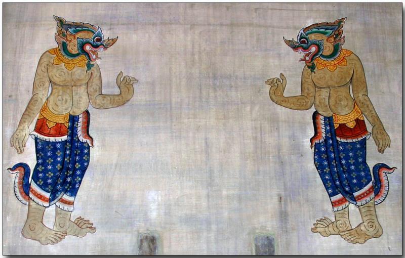Stone wall graphics -  Wat Pho, Bangkok