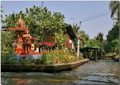 Typical Thai house on a waterway