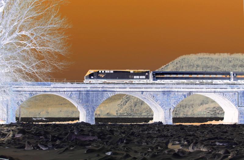 Amtraks The Pennsylvanian at Rockville Bridge - Negative