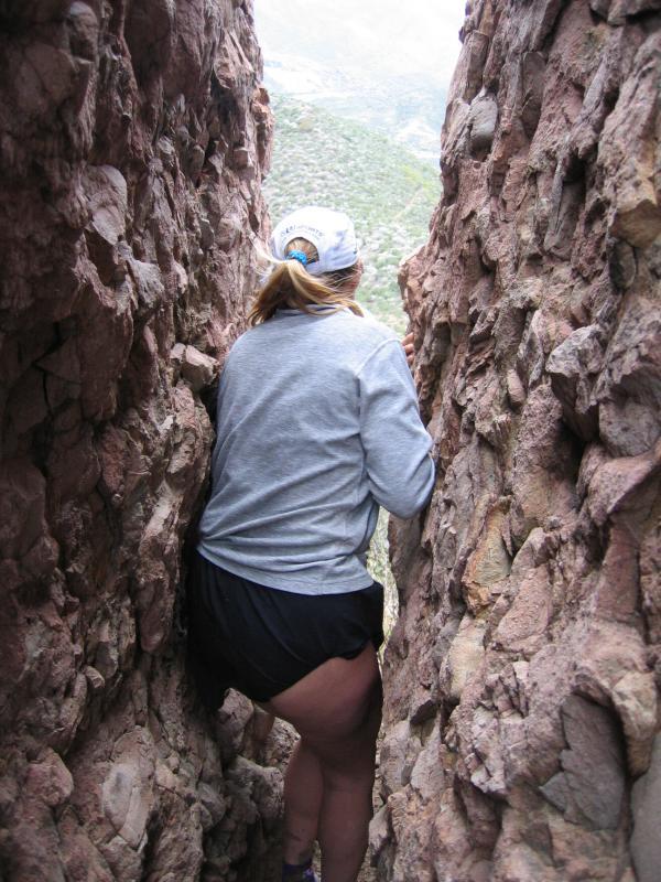 Laura walking through Butt Crack Rock