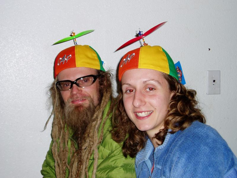 Sybrowskys wearing the caboose hats<br>(JU)</br>
