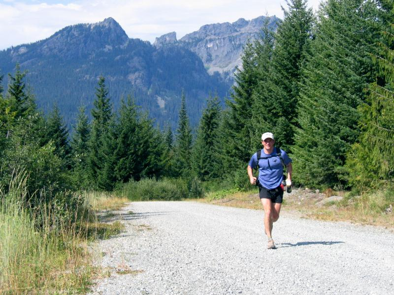 Charlie runs the road to No Name Ridge