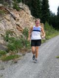 Marlis runs down to meet us