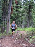 Marlis runs up the hill