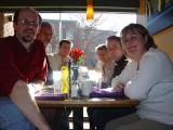 Famly at Toronto restaurant (fill flash to counter strong sunlight from window)