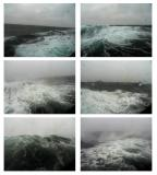 Porthole photos of a Southern Ocean gale, shot from our cabin.