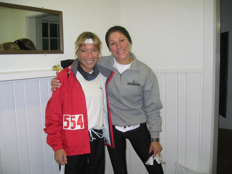 Me (50-miler) and Beth Simpson (100-miler) before Rocky Racoon in February 2004
