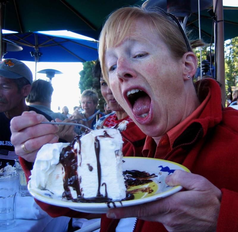 Mary Gorski eats hula pie