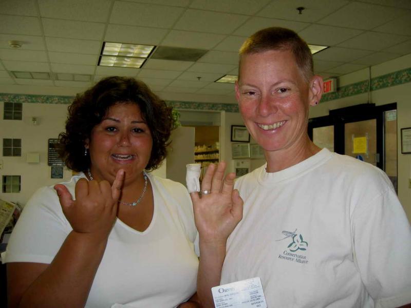 Nikkis wound -- Jennifer & Nikki at the Urgent Care center in Vegas