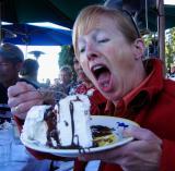 Mary Gorski eats hula pie