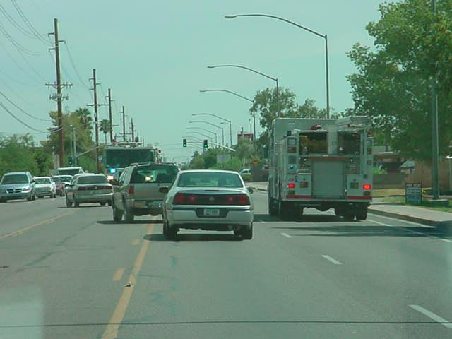 fire trucks on Stapley <br> south of Main St <br> Mesa Arizona