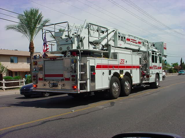 fire truck on Stapley <br> south of Main St <br> Mesa Arizona