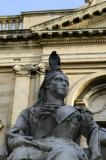 Queen Victoria wearing a crown of pigeon