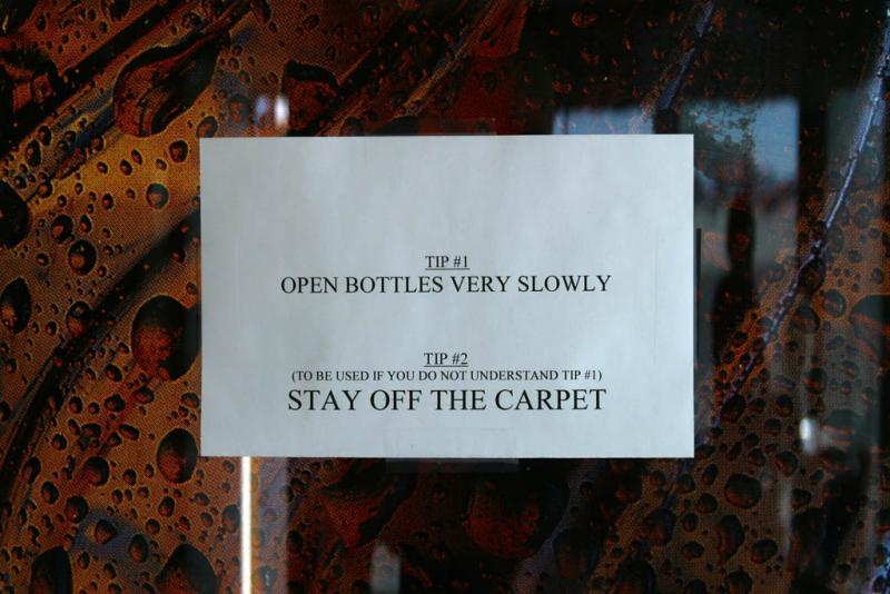 Sign on drinks machine, Kalmath Falls