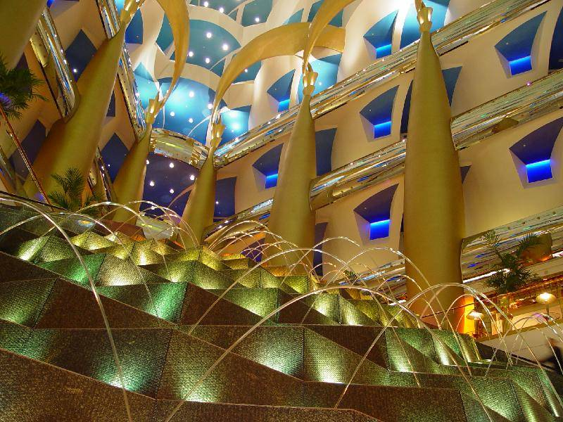 Looking up the worlds tallest atrium from the lobby of the Burj Al Arab