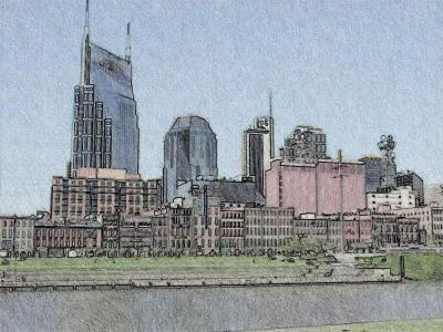 Nashville Skyline as ink drawing
