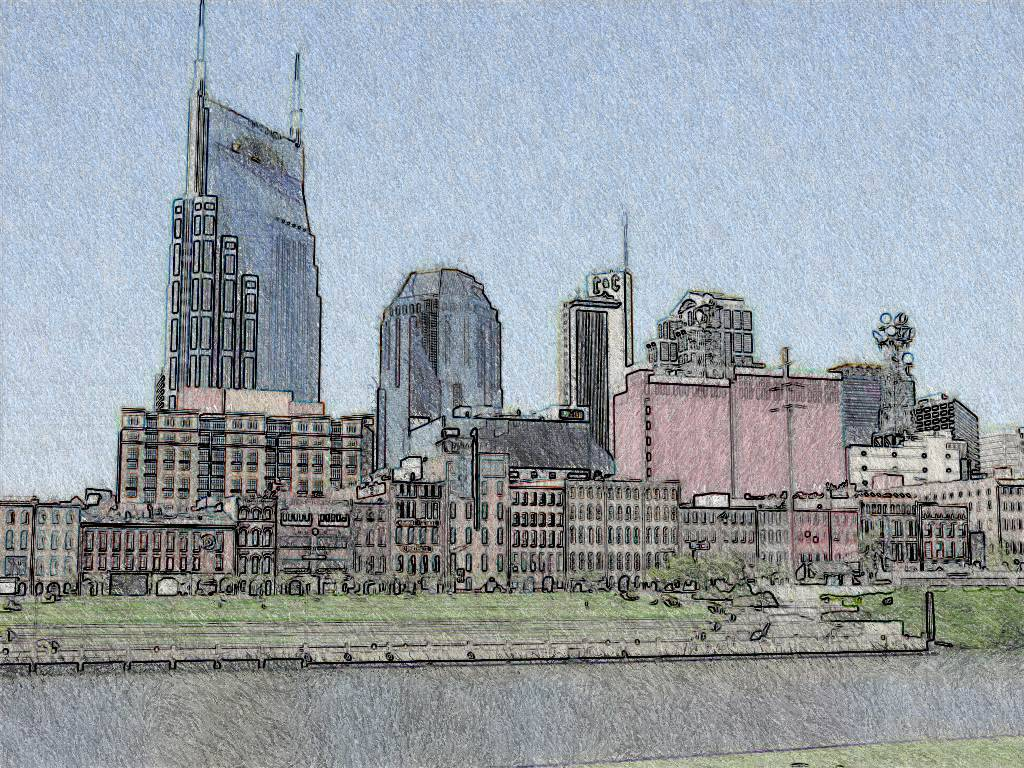 Nashville Skyline as ink drawing