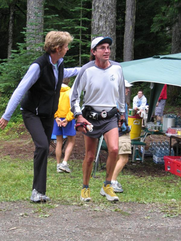 Barb greets Rick Miller