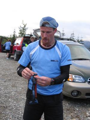 OLLALIE MEADOWS<BR>Mile 47</br><br>Mike Adams gets ready to pace Justin</br>