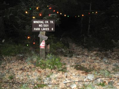 Trailhead adorned with lights