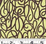 Apple Green Silk Crepe with Brown Swirls