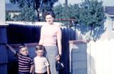 Betty, Steve, and Greg at Bob and Gladys'; Inglewood, Calif., 1950