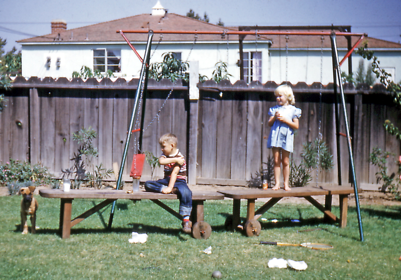Steve and neighbour at Bob and Gladys; Inglewood, Calif., 1952
