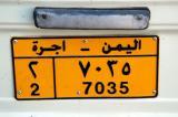 License plate from Mohammed's Land Cruiser