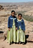 Two young Yemeni girls in festive attire