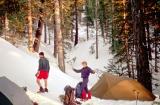 San Jacinto, California- camp in snow