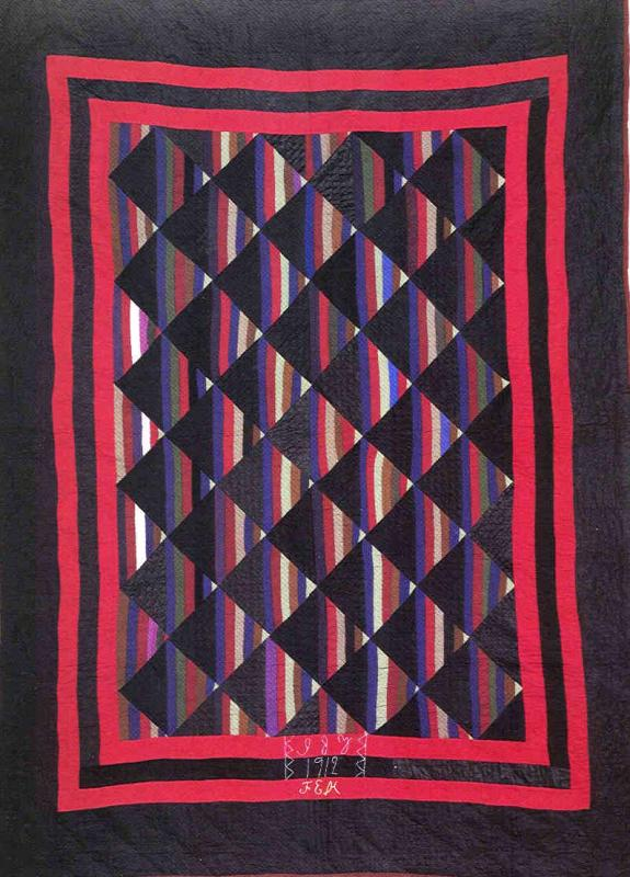035:Roman Stripes-Holmes County,OH- initialed and dated 1912 in quilting  84x61