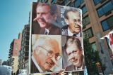 Bush, Rumsfeld, Cheney, and Ashcroft as Pinnochios