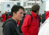 Ellen Mac Arthur sur les quais du port de Fécamp