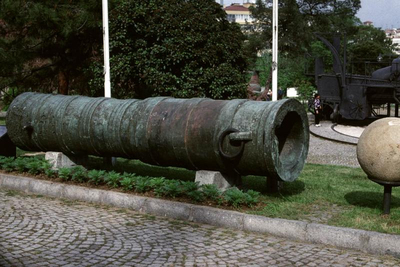 Old type cannon with ball