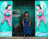 girl and angels, santa maria de jesus, guatemala