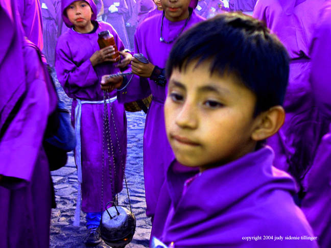 the boy at the procession, antigua, guatemala