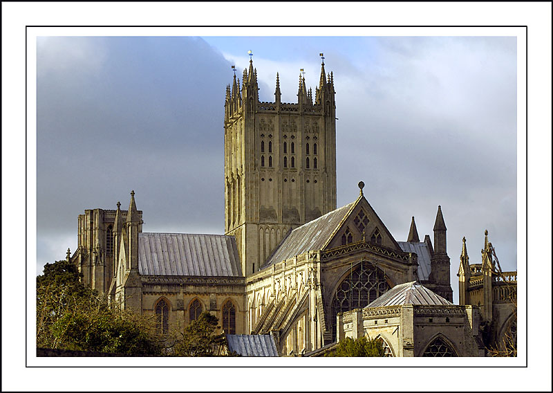 Cathedral with scaffolding, Wells