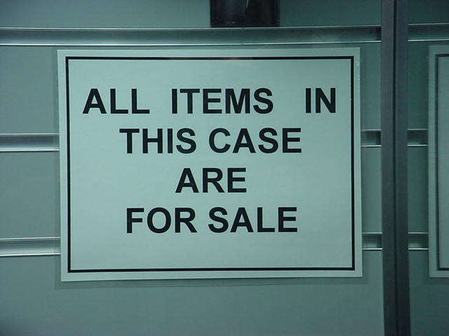 All items in this <br> case are for sale