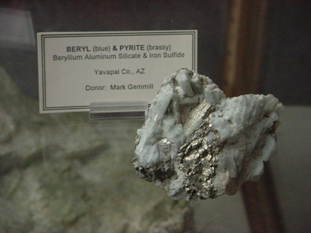 Beryl (blue) <br> Pyrite (brassy)