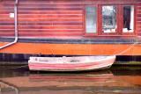 Red orange houseboat