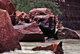 Boulders washed into the Colorado River