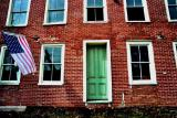 Brick Door And Flag