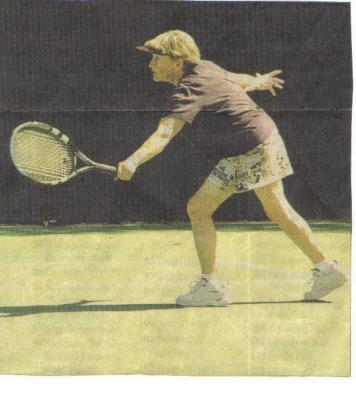 Barbara B. in a tennis marathon at 72yrs.