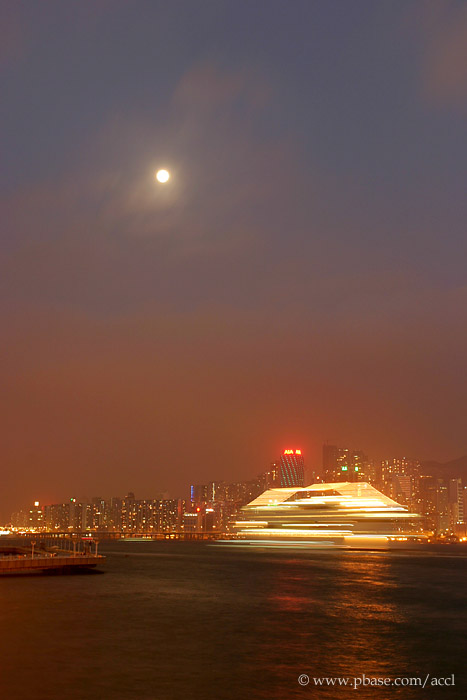 A cruise leaving the Victoria Harbour