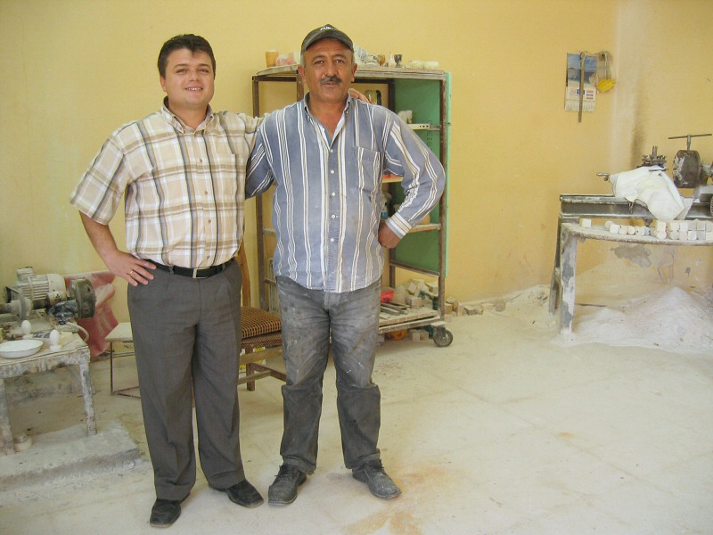 Ismet with the master potter, whos been there 30 years