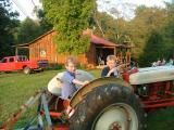 on the tractor