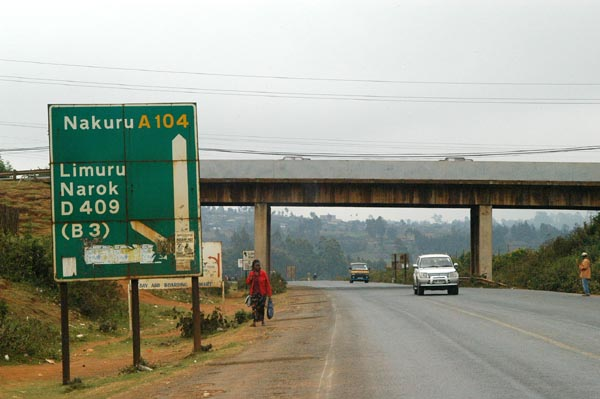 Headed out of Nairobi on the A104